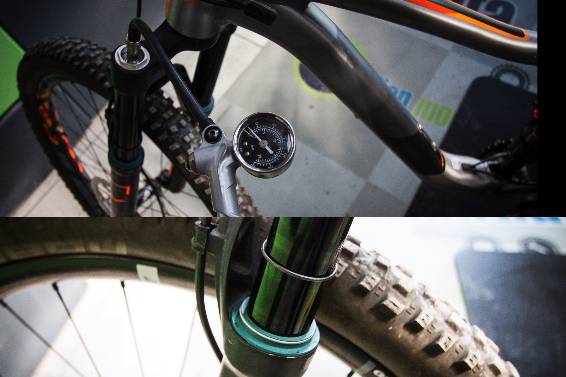 We check the front fork sag setting, here we are aiming for a 30 percent starting point. Air pressure is according to rider weight and style of riding. Aggressive riders tend to set their fork harder.
