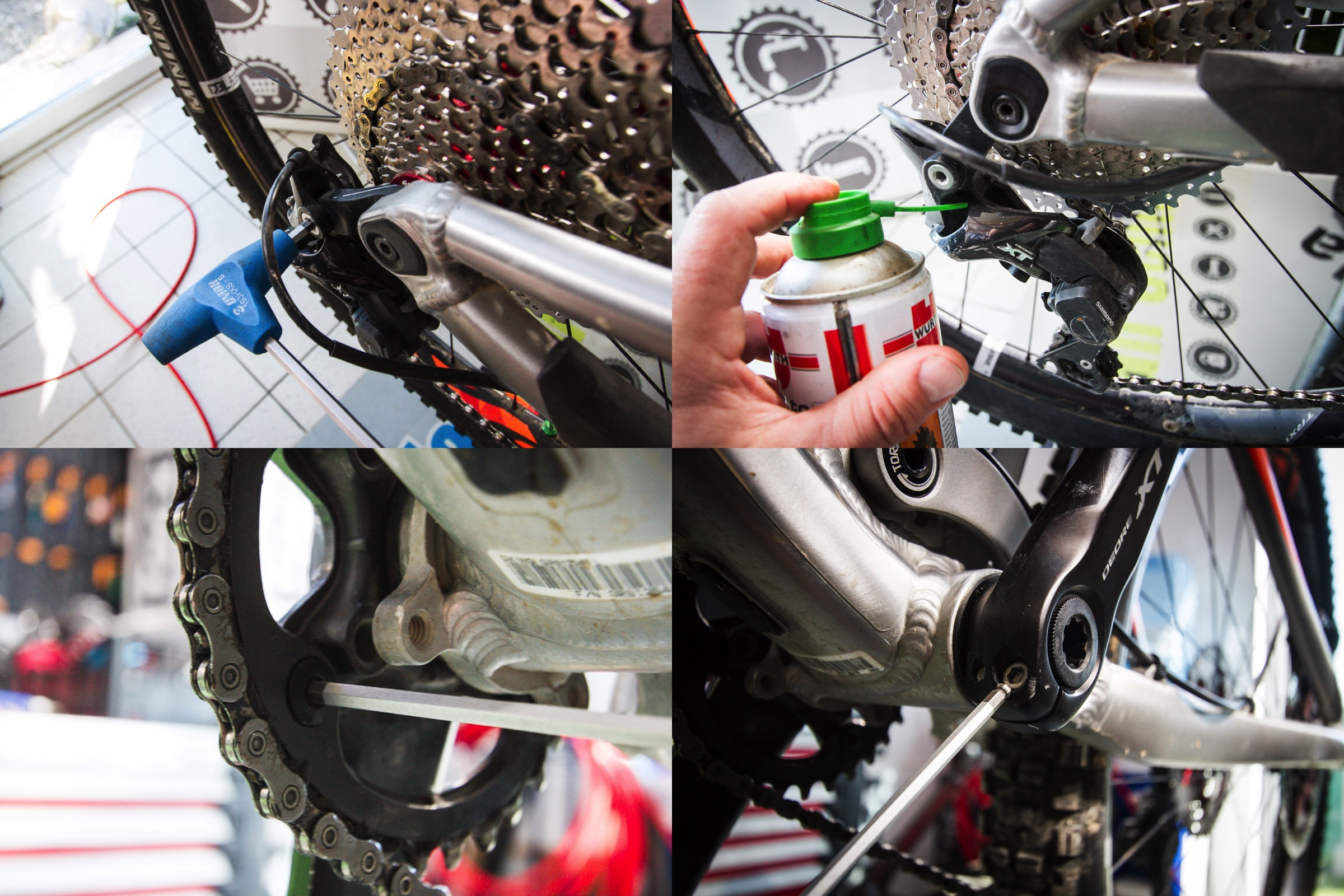 We check the derailleur bolt tightness and also give a quick spray of some non sticky pivot grease. We also check the chainring bolts for tightness and the cranks. Everything should be smooth and without play for a precise ride feeling.