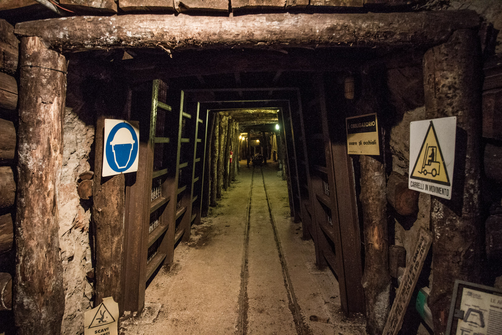 This part of the mine has examples of the different methods used for proping up the walls of the mine.