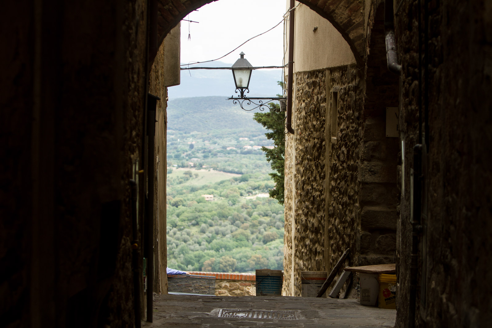 A mediveal feel with archways and views across the countryside.