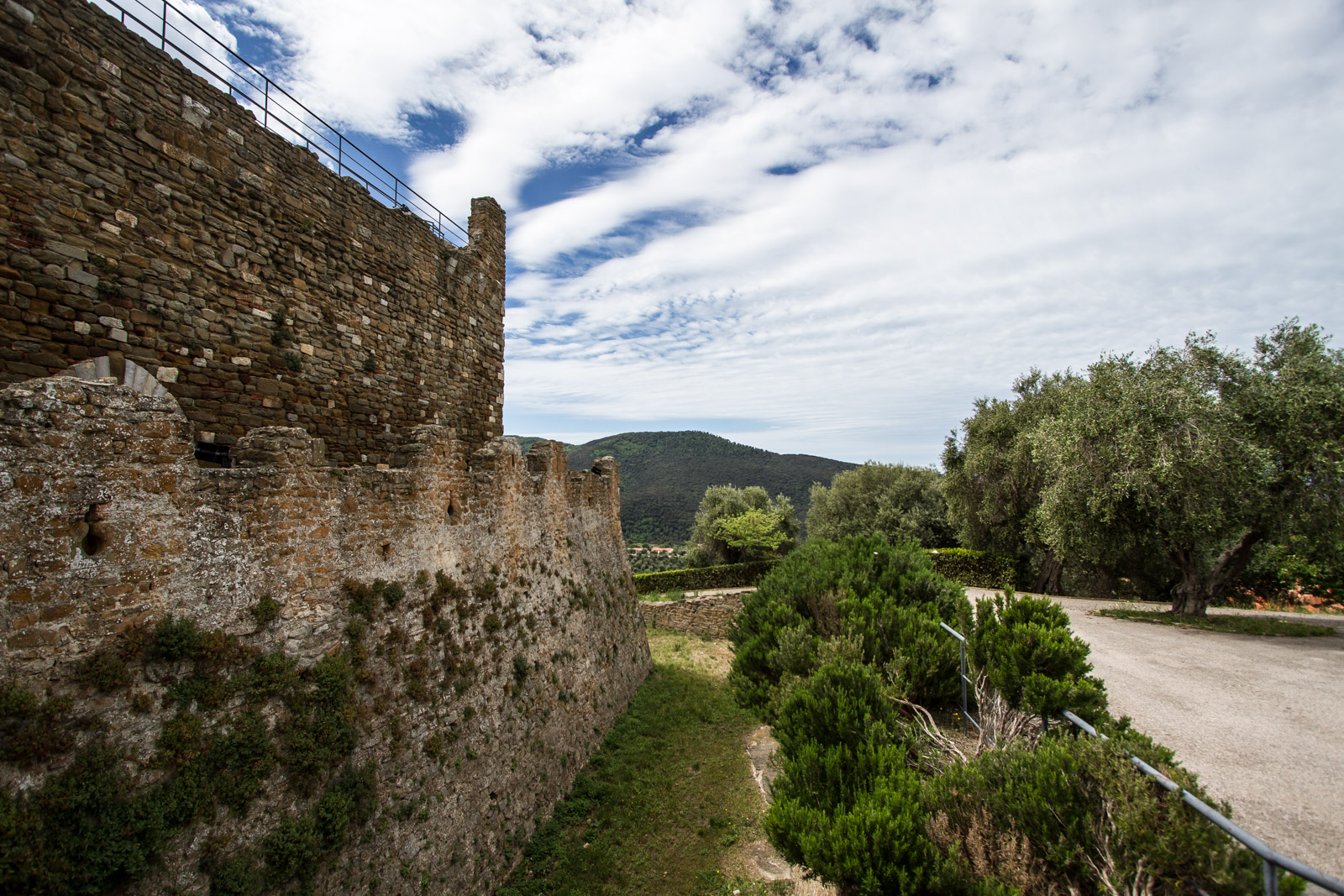 The castle is surrounded by fortifications.