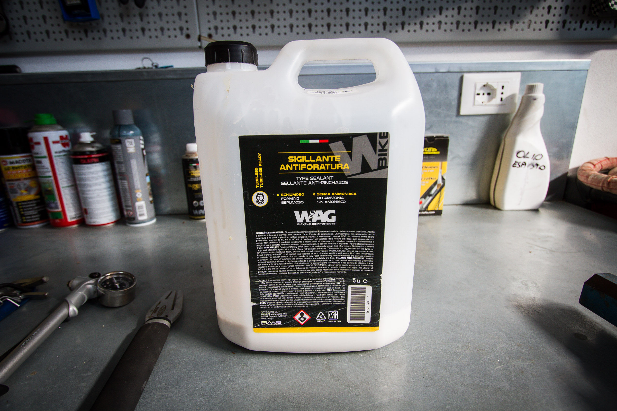 Tyre sealant and lots of it is a very valuable item to own. At about 80 euros for a big pot, it gives you ability to do keep all your tyres running properly and switch out without worrying about transferring liquid into the new tyre.