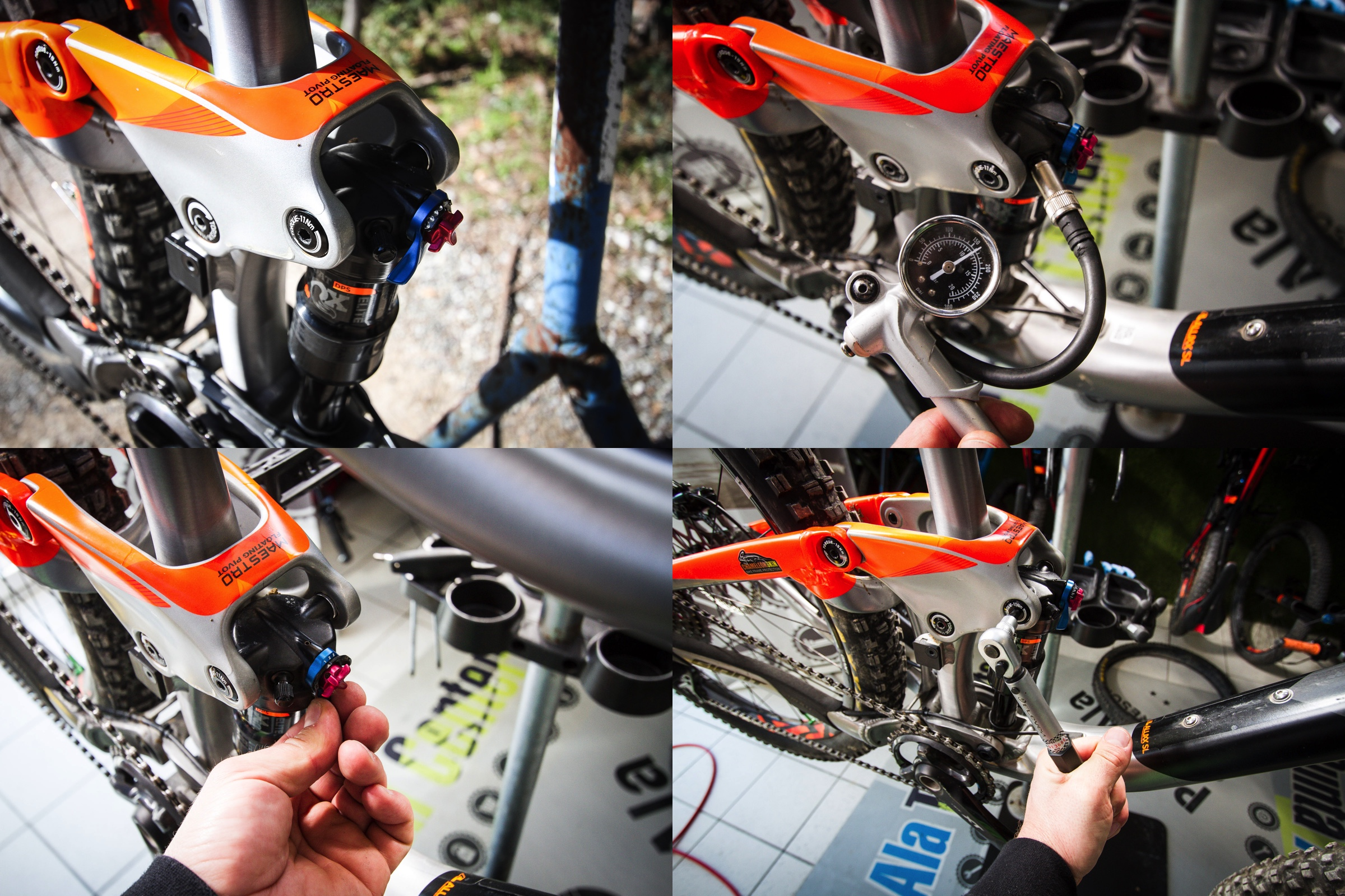 The rear shock needs a lot of attention here, firstly we check the pressure and set the sag, then we check that the lockout parts work correctly then we check the pivots are tight. The pivot bushings are wear items and need close attention and changing if they have any play in them.